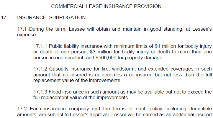 Leases - Commercial Insurance Provision